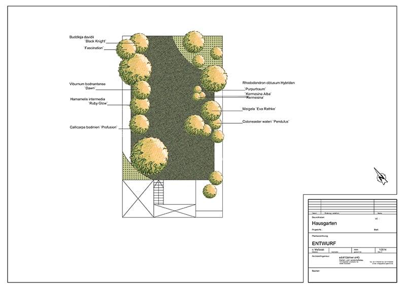 Skizze einer Gartenplanung bei Adolf Gärtner