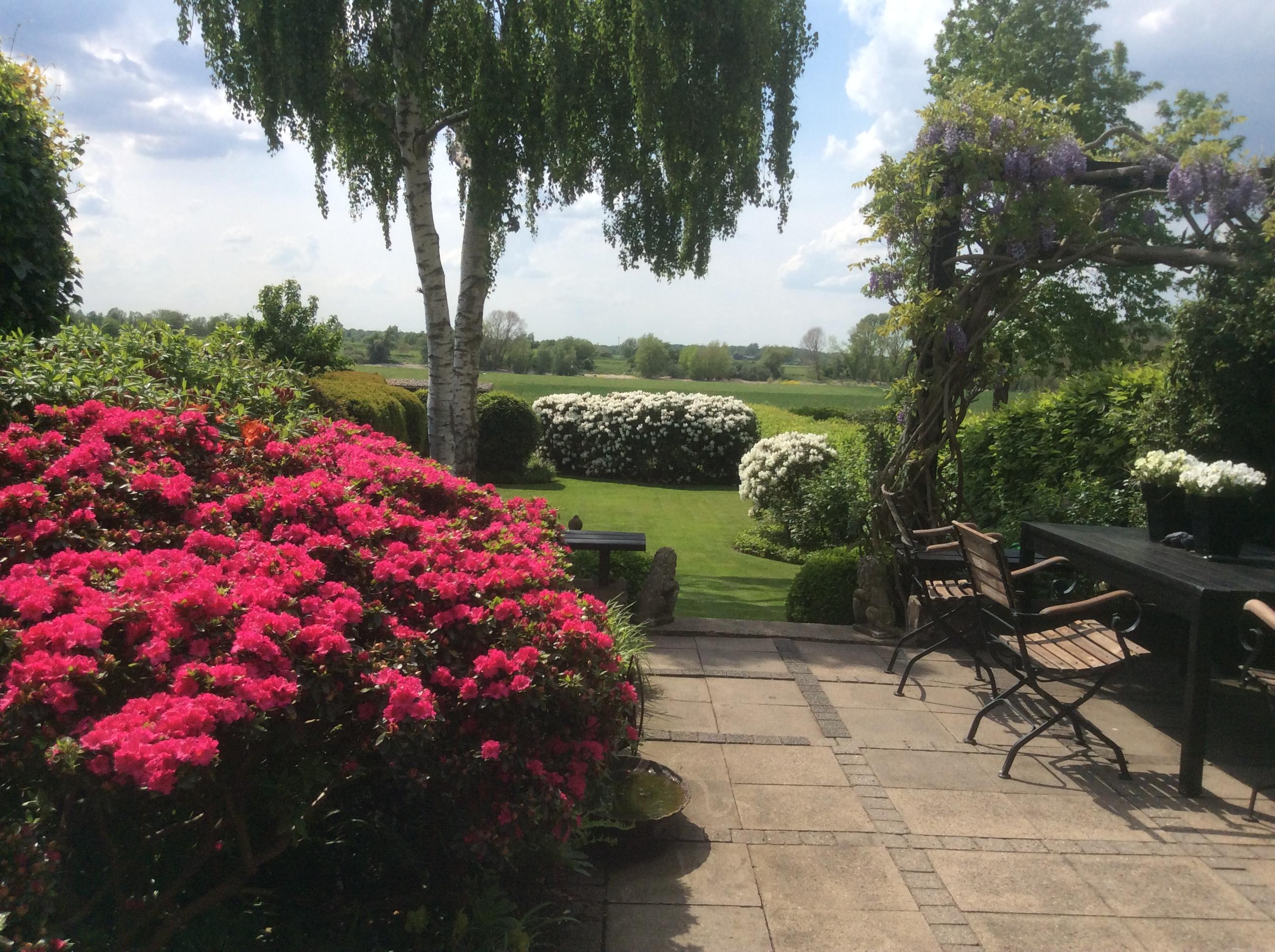 Grosser Garten mit Tisch und Stühlen und Pinken Blumen